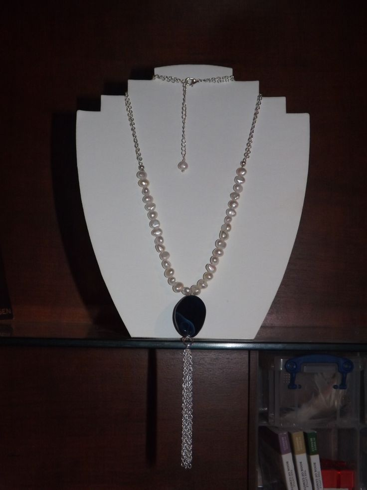 Long line necklace using Agate and Fresh Water Pearls and silver chain