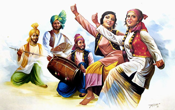 Bhangra Dancers from Punjab (Reprint on Paper - Unframed))