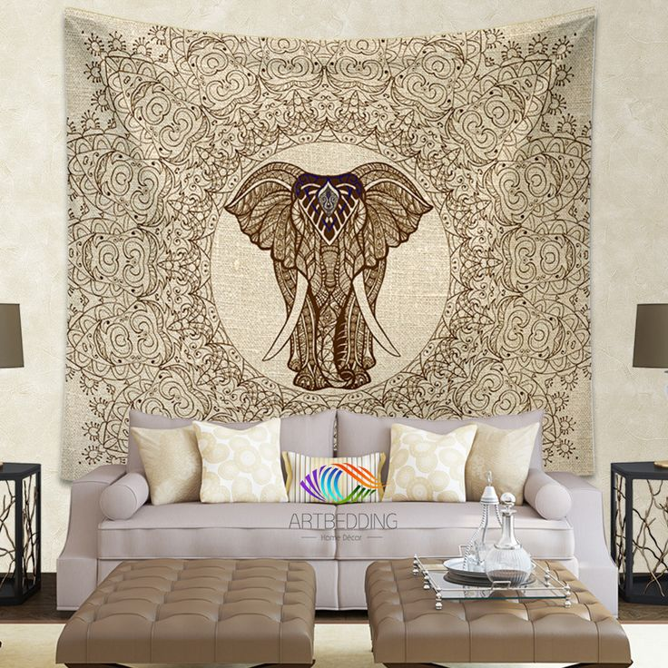Elephant Tapestry, Elephant tapestry wall hanging, Lace mandala bohemian tapestries, Bohemian decor