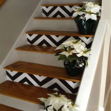 I love the painting of the stairs idea, I wouldnt put the plants down considering I would trip. Or my dog would eat them, which ever comes first