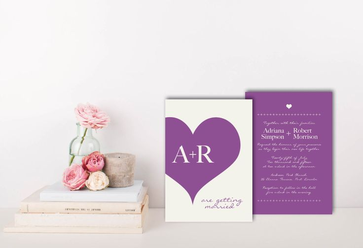 A personal favourite from my Etsy shop https://www.etsy.com/au/listing/462858157/violet-wedding-invitation-violet