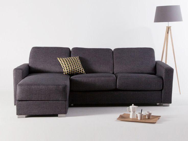 Canapé d'angle convertible express réversible tissu gris 3 places + coffre LEONIE