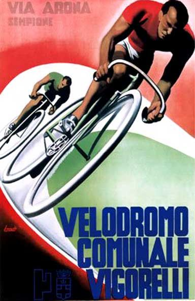 Vintage poster for the Velodromo Comunale Vigorelli in Milan. Long abandoned, currently under threat of demolition.