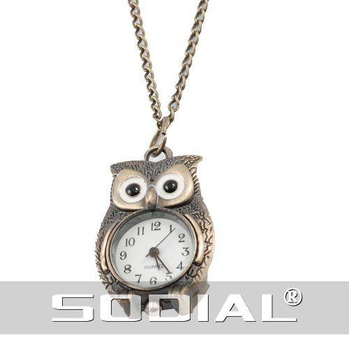 Aus der Kategorie Halsketten  gibt es, zum Preis von EUR 3,77  <b>* SODIAL ist ein eingetragenes Markenzeichen. Nur SODIAL autorisierte Verkaeufer duerfen unter SODIAL-Listing verkaufen.</b> <br /> * SODIAL(R) Bronzeton Nacht-Eule Anhaenger Quarz Halskette Uhr fuer Damen <br /> * Bronze Ton Metall Eule Anhaenger Halske