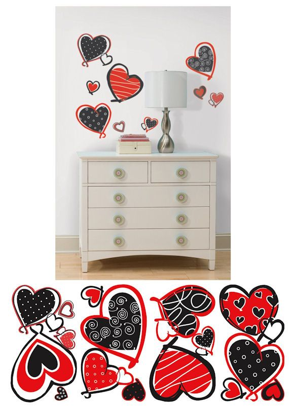 Mod Heart Peel And Stick Wall Decal   Wall Sticker Outlet