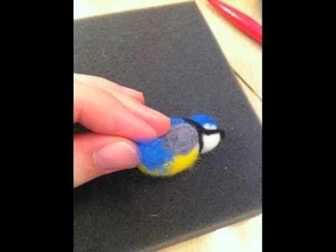 Needle felting a Blue Titmouse (tutorial)