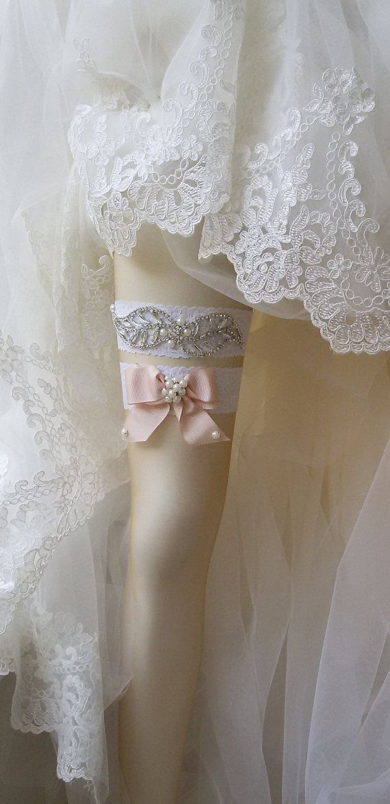 Wedding  Garter Set  Of White Lace Garter Set by UniqueCeremony