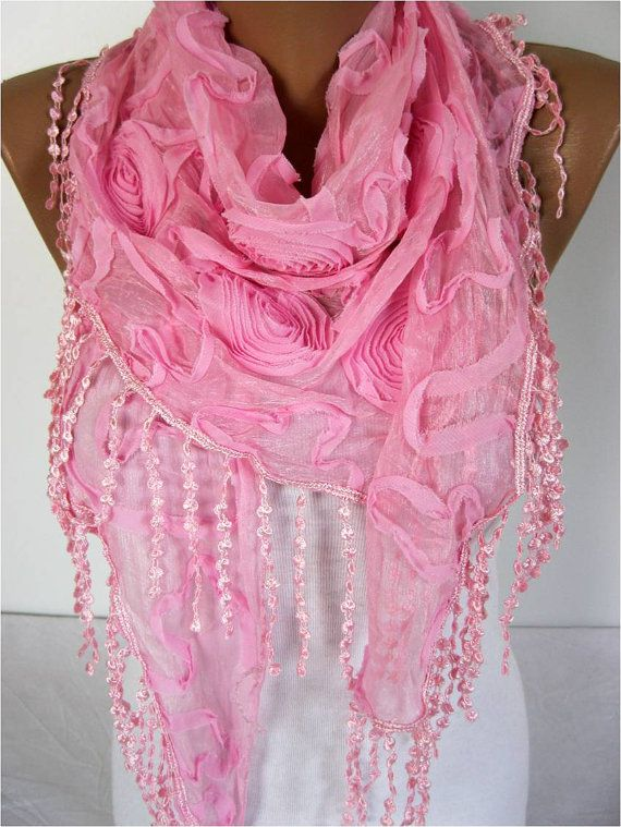 Pink scarf women scarves  guipure   fashion scarf  by MebaDesign