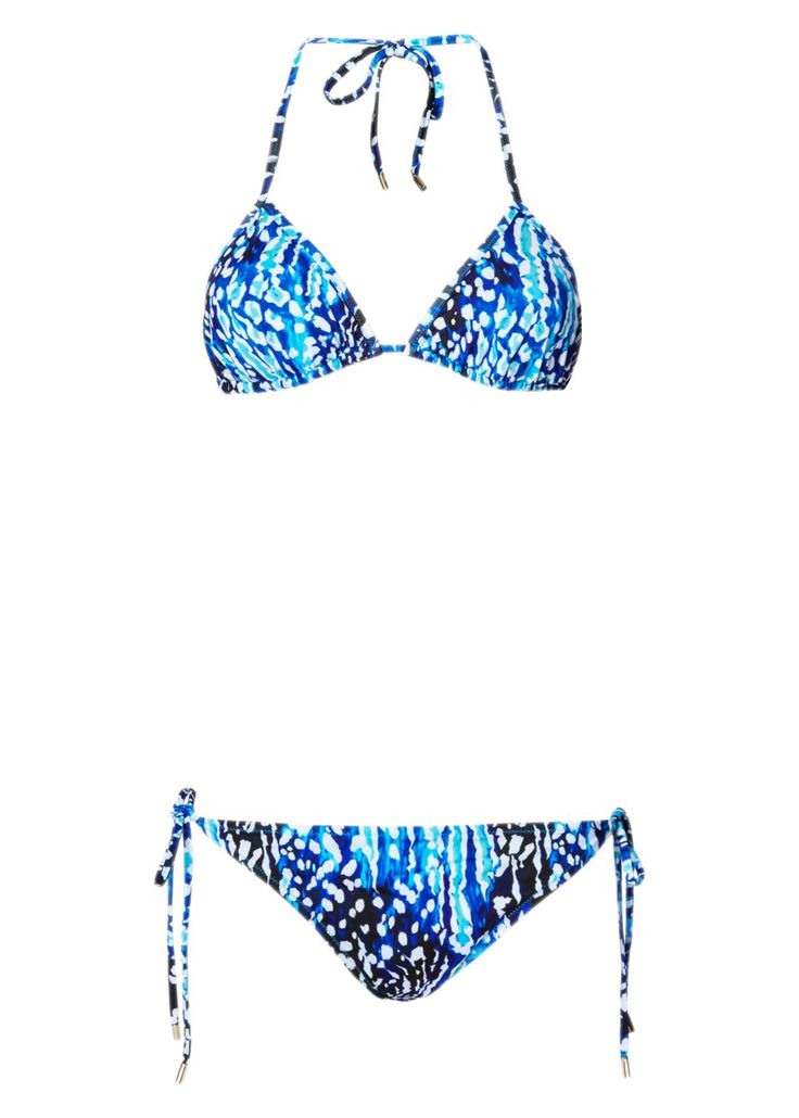 The Akita Animal print taps into Matthew's love of both nature and exotic, nomadic travels - Akita is a mountainous area in Japan, known for its hot springs. This bikini has triangle cups, string-tie straps and low-rise briefs that can be adjusted for the perfect fit. The oceanic shades flatter every skin tone. Click to shop Matthew Williamson beachwear.