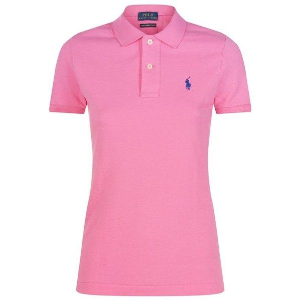 Polo Ralph Lauren Skinny Fit Polo Shirt ($105) ❤ liked on Polyvore featuring tops, pink top, polo tops, polo shirts, polo ralph lauren and ribbed top