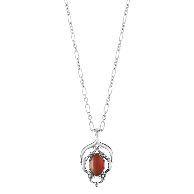 2016 HERITAGE - Georg Jensen's original design from the Art Nouveau period and reflects contemporary fine jewelry trend. The curved lines and the decoration and natural Art Nouveau motifs recur in the collection , making each jewelery incredibly striking and enchanting. - Materials: Oxidized sterling silver, Carnelian