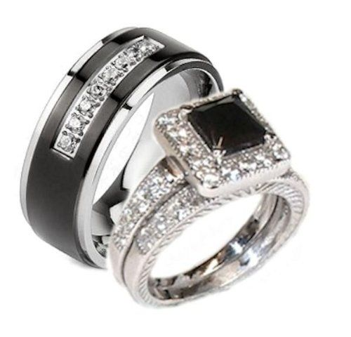 Edwin Earls His Her 3 Piece Black White Cz Wedding Ring Set Sterling Silver And Stainless Steel Womens