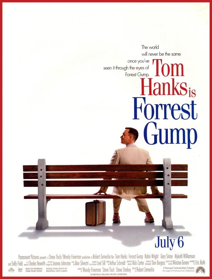 Forrest Gump er en amerikansk spillefilm fra 1994 regissert av Robert Zemeckis. Den er basert på boka ved samme navn av Winston Groom. Hovedrollen som Forrest Gump spilles av Tom Hanks. Filmen var en stor suksess, og brakte inn 677 millioner US$. Den var den mest sette filmen i Nord-Amerika det året den ble utgitt. Den ble nominert til 13 Oscar, og vant seks, inkludert beste film, beste visuelle effekter, beste regi (Robert Zemeckis) og beste mannlige hovedrolle (Tom Hanks).  Filmen handler…