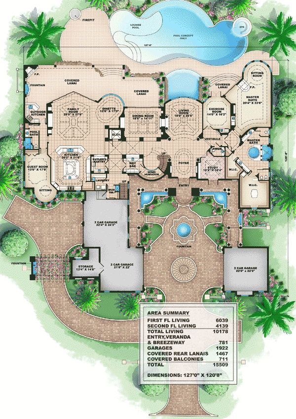 Plan W66008WE: Corner Lot, Luxury, Premium Collection, Florida, Photo Gallery, Mediterranean House Plans Home Designs