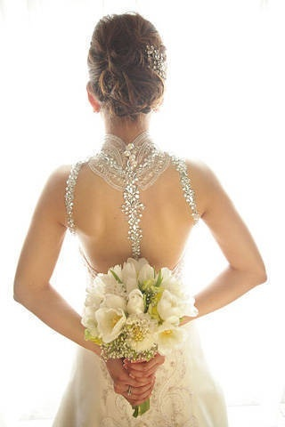 Bridal Gown with Crystal Studded Straps