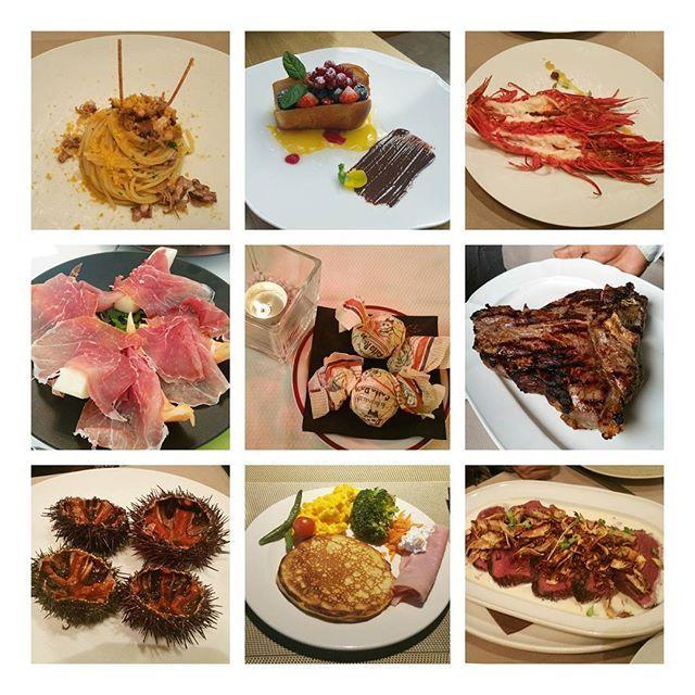 イタリアは美味しいもの沢山でした😋 あ、ホテルの朝食も入っちゃってる😂 . #italy #milano #먹스타그램 #グルメ #食の旅 #思い出 #パスタ #エビ #うに #肉 #肉 #肉 #ステーキ #生ハム #メロン #sweets ♡♡