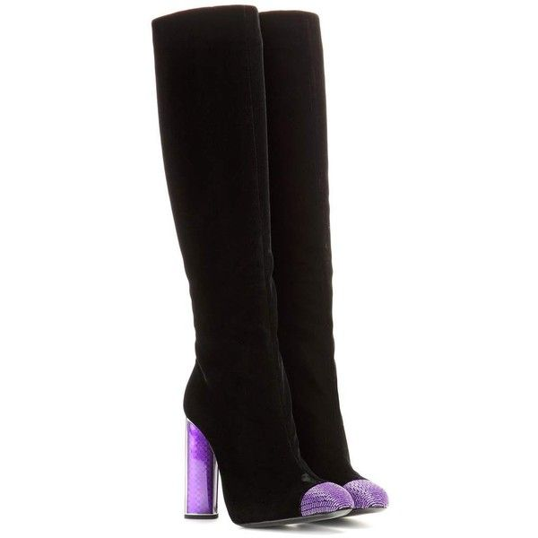 Tom Ford Embellished Velvet Knee-High Boots (19.657.545 IDR) ❤ liked on Polyvore featuring shoes, boots, tom ford, velvet, black, embellished boots, black knee high boots, velvet boots and black boots
