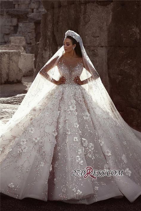 Robes de mariée de luxe à manches longues