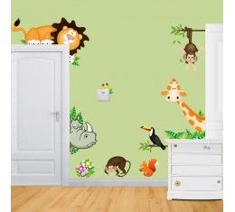 Peeping Safari Animals wall sticker available at www.kidzdecor.co.za. Free postage throughout South Africa