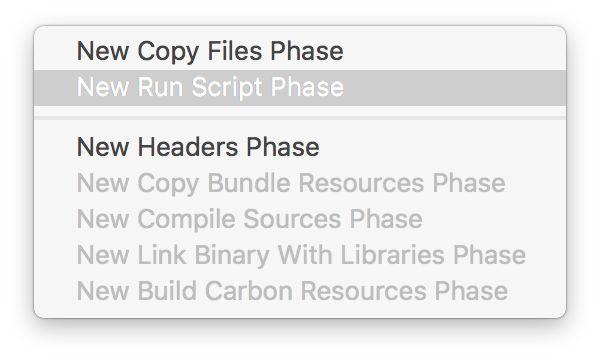 Build Phase Menu to add a Run Script Phase