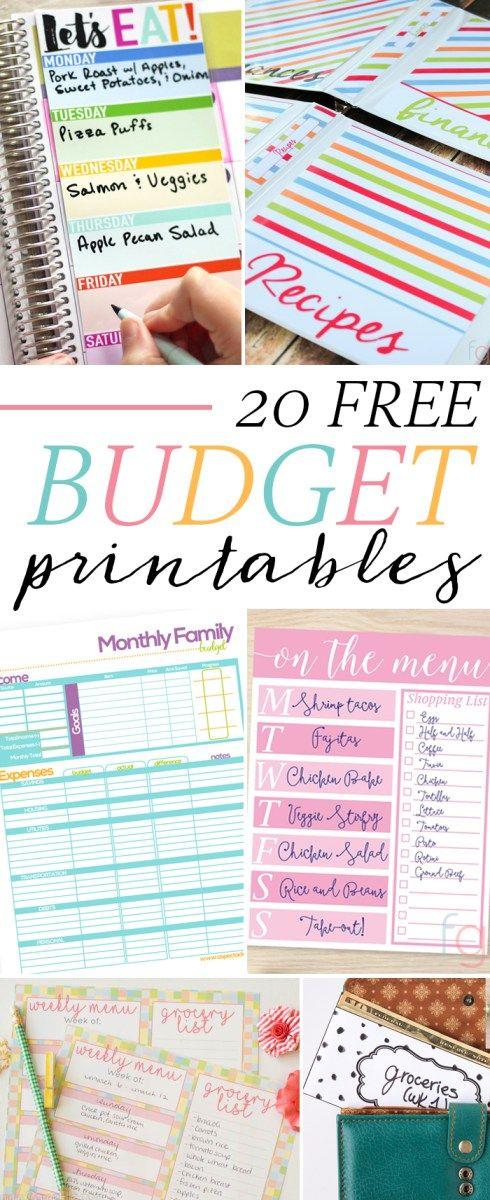 20 kostenlose Budget-Ausdrucke, um die Einhaltung Ihrer Budgetierungsziele zu erleichtern! Mit Essensplanern, Budget-Arbeitsblättern, Einbanddeckeln, Bargeldumschlag zum Ausdrucken und mehr.