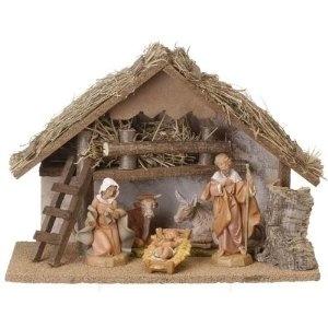 "6-Piece Fontanini 5"" Christmas Nativity Set With Italian Stable"