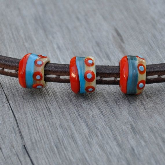 3 large hole lampwork glass beads coral turquoise and ivory stripe beads fits regaliz oval leather