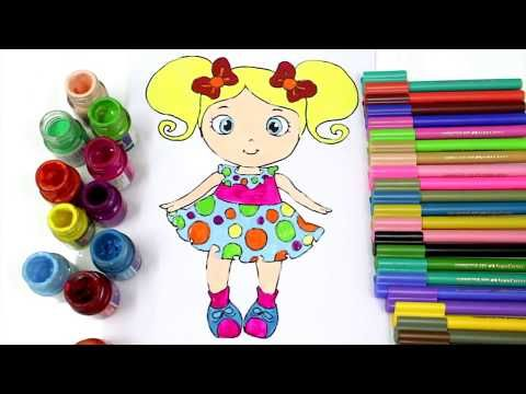 How to Draw Color Paint Cute Baby Doll Coloring Page and Learn to Color for Kids - YouTube
