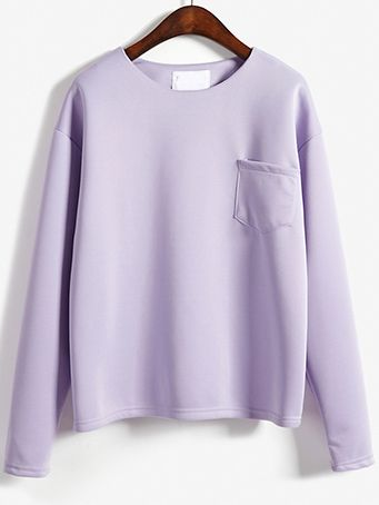Light Purple Round Neck Pocket Loose Sweatshirt , Perfect Outfits for You!