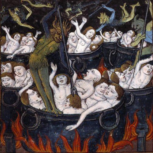 punishment of the greedy  Compost et calendrier des bergers, [Paris: Guy Marchant, 1493]  Angers, Bibliothèque municipale, SA 3390, fol. 35v