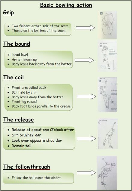 Cricket: Bowling task cards - A simple and easy to follow task card for the basic bowling action used in cricket.