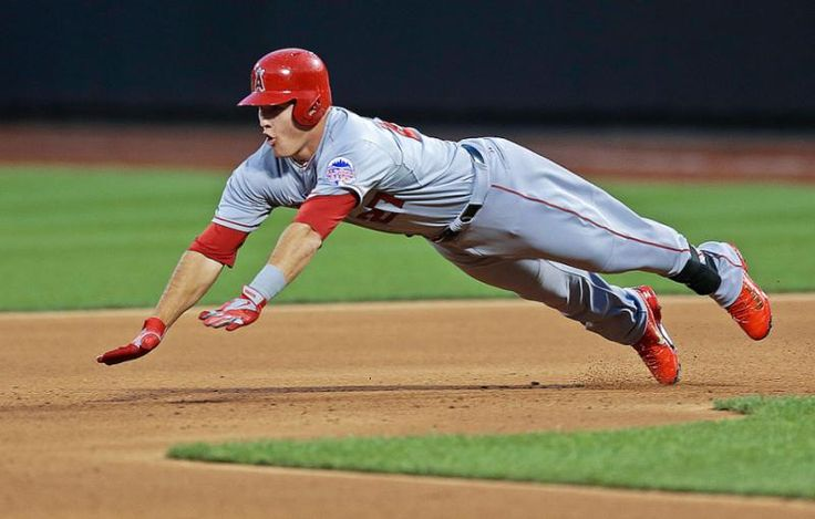 Mike Trout, of the Los Angeles Angels