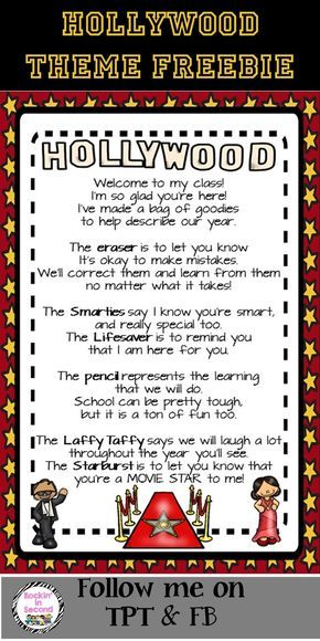 """This is the """"Welcome"""" to class goodie bag poem that many teachers use for Meet & Greet or Open House/Meet the Teacher Night. I just """"Hollywooded"""" it up with Hollywood graphics and colors to fit with Hollywood themed classrooms or just for those who like think their kiddos are Movie Stars.  Follow me on TPT for more fun, exciting products and FREEBIES. All new products are 50% off for the first 24 hours.  Like me on Facebook at www.facebook.com/rockininsecond"""