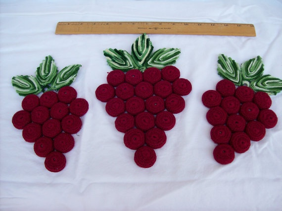 Vintage Crocheted Bottle Cap Grape Trivet Trio. $12.00, via Etsy.