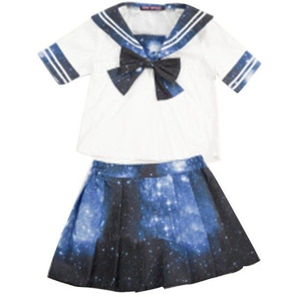 Fantasy Sheep Women's Galaxy Sailor Costume ($60) ❤ liked on Polyvore featuring costumes, womens costumes, white sailor costume, white halloween costumes, galaxy costume and ladies costumes