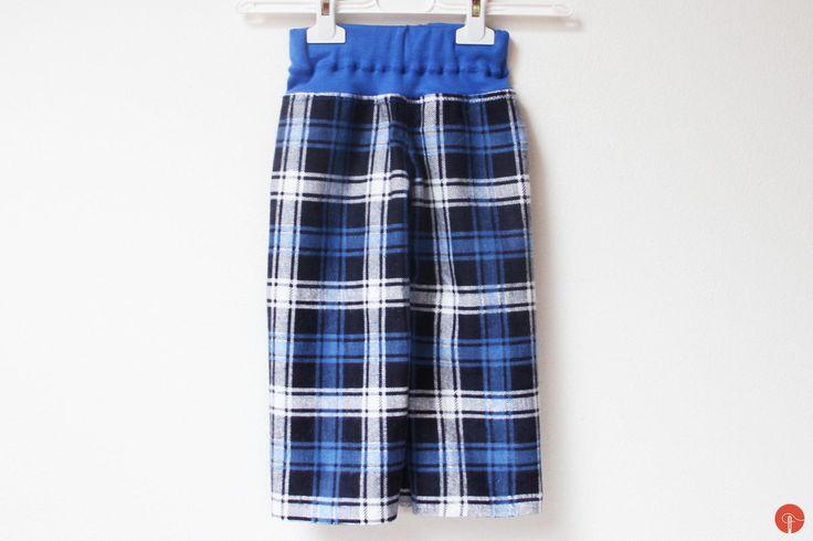 Kids flannel pyjamas, handamde sewed