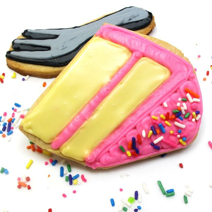 birthday cookies!! cake, candles, a glass of milk and a fork | The Decorated Cookie