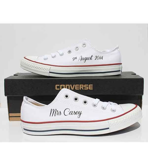 Wedding Custom Converse All Star Ox Optical White