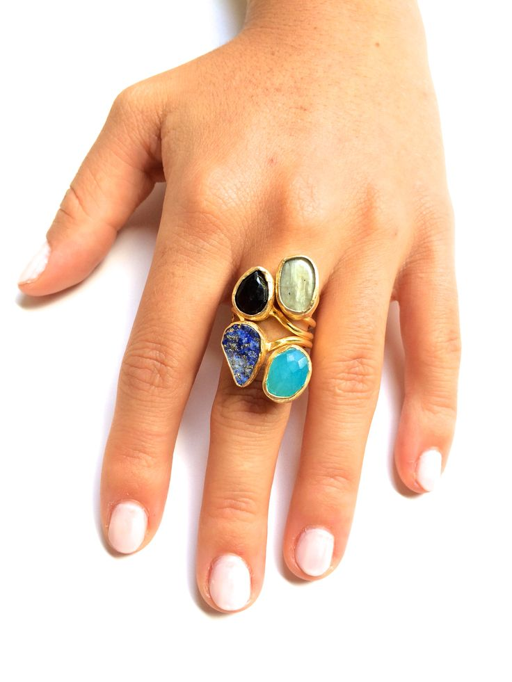 Exotic Ring | Gemstones Mounted on Gold Filled | One of a Kind | Fashion | Accesories | Jewelry. https://www.etsy.com/listing/197778998/exotic-ring-gemstones-mounted-on-gold?ref=listing-shop-header-2