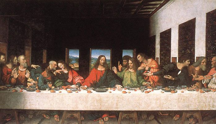 La Última Cena (en italiano: Il cenacolo o L' ultima cena) es una pintura mural original de Leonardo da Vinci ejecutada entre 1495 y 1497,1 2 se encuentra en la pared sobre la que se pintó originariamente, en el refectorio del convento dominico de Santa Maria delle Grazie en Milán (Italia).3 La pintura fue elaborada, para su patrón, el duque Ludovico Sforza de Milán.