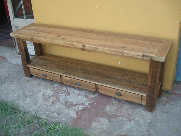 Campo chico mueble de tv audio de pinotea madera for Muebles con madera reciclada