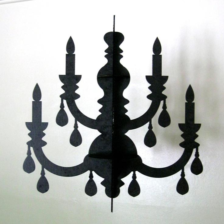 Black Chandelier Eco Laser Cut Cardboard Decoration