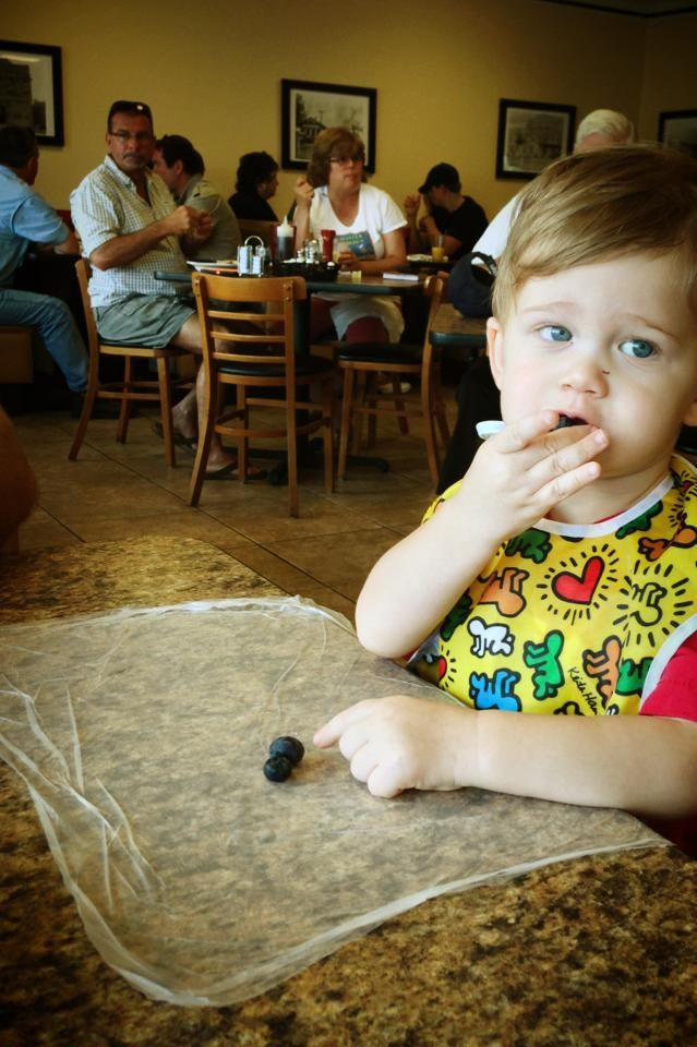 Glad Press n' Seal used on table at restaurant, home, or anywhere can catch crumbs & messes but also keep germs away from baby. Keep one folded in the diaper bag.