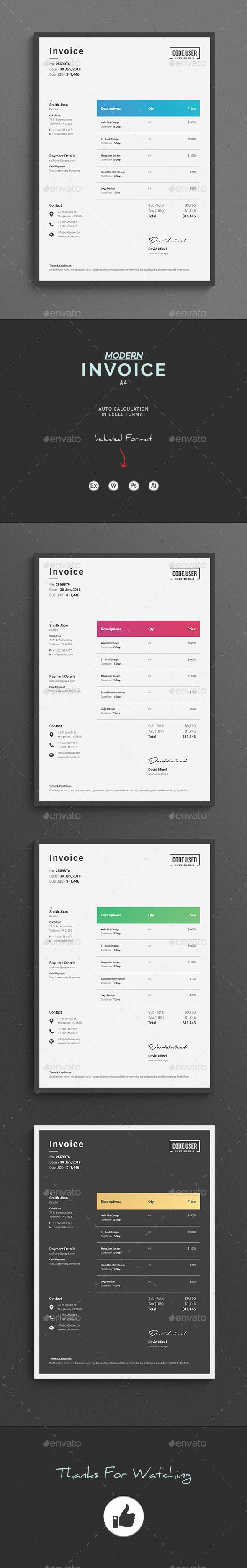 Invoice Invoice Excel Template. Use this Invoice for personal, corporate or company billing purpose. This Simple Invoice will help you to create your invoice very quick and easy. Elegant Invoice Design will convey your brand identity as well as Professional Invoice look.