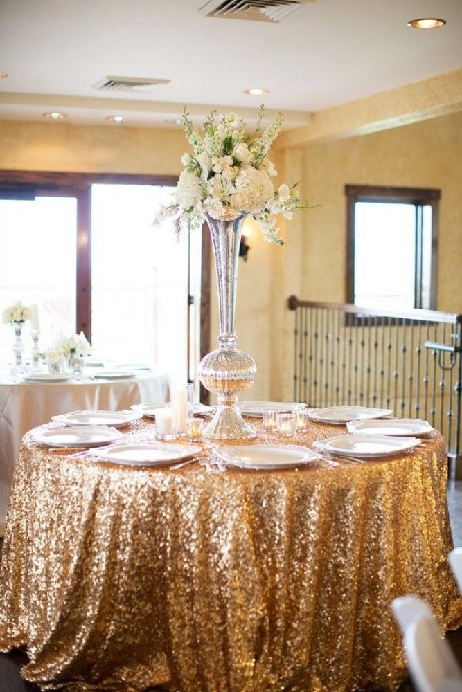 Gold Sequin Tablecloth Wedding Reception Pinterest