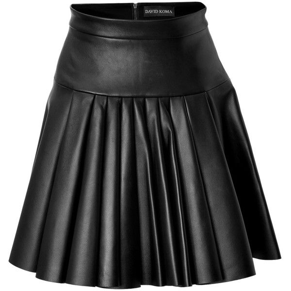 David Koma Pleated Leather Mini-Skirt ($905) ❤ liked on Polyvore featuring skirts, mini skirts, bottoms, david koma, black, short black skirt, leather miniskirt, pleated leather skirt, short skirts and pleated skirt