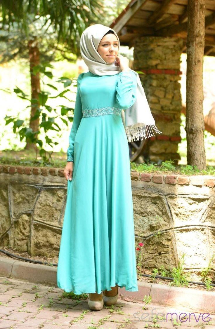 2014 Yazlık ZRF Tesettür Elbise 9044-20 Koyu Mint Yeşil