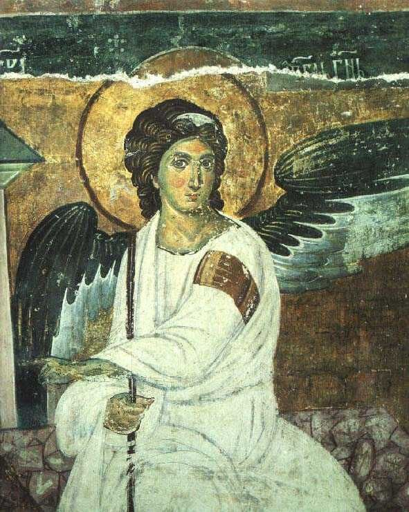 The Angel at the Tomb, detail of the Holy Women at the Sepulchre. Fresco. Mileseva Monastary. XIII Century. Southwest Serbia.