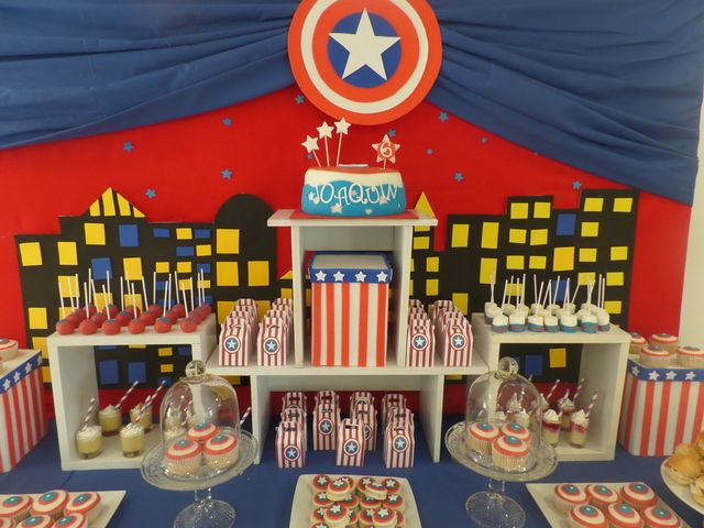Captain America boy birthday party dessert table!  See more party ideas at CatchMyParty.com!