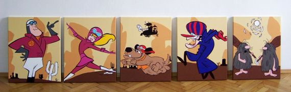 Wacky Races Serie 5 tele dipinte a mano   di PopComicShop su Etsy Wacky Races  Hanna-Barbera  Peter Perfect  Penelope Pitstop  Muttley  Dick Dastardly The Slag Brothers  comic  fumetti  cartoon  popcomic  poster  wall art
